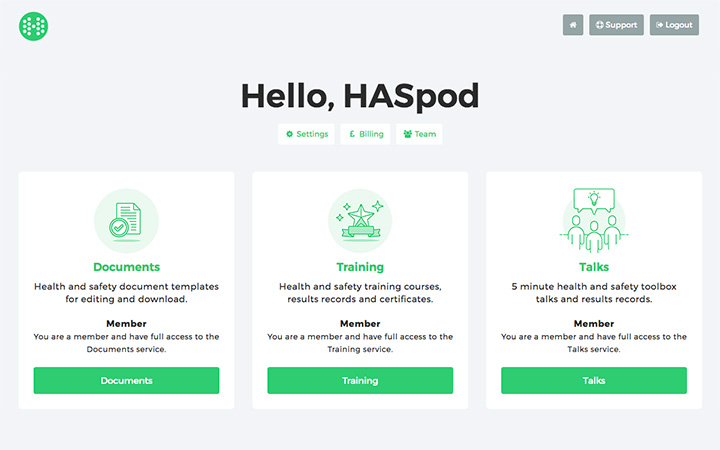 haspod user dashboard