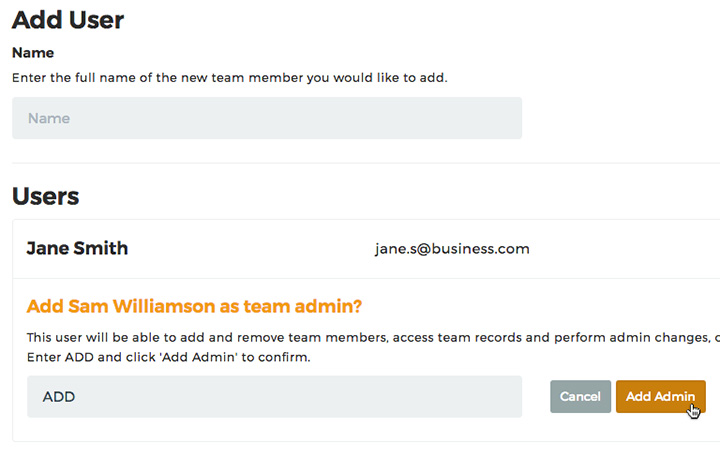 haspod user team admin form